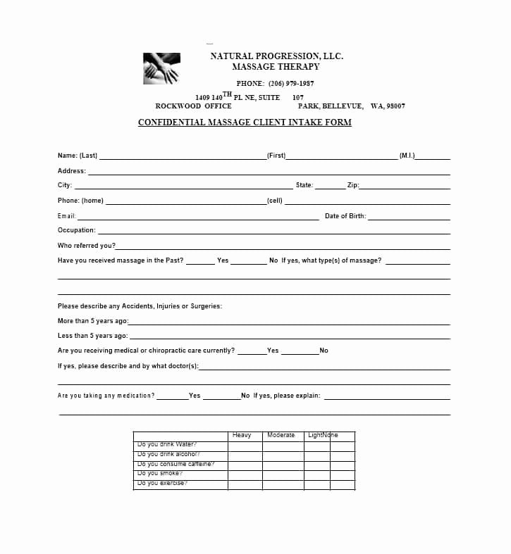 Massage Intake form Templates Inspirational 59 Best Massage Intake forms for Any Client Printable