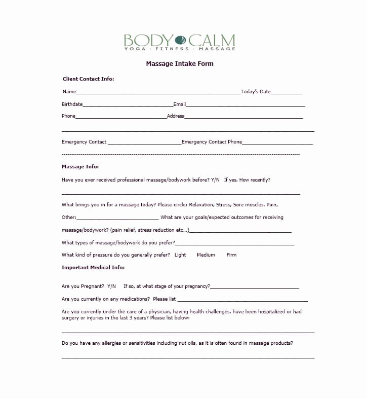 Massage Intake form Templates Lovely 59 Best Massage Intake forms for Any Client Printable