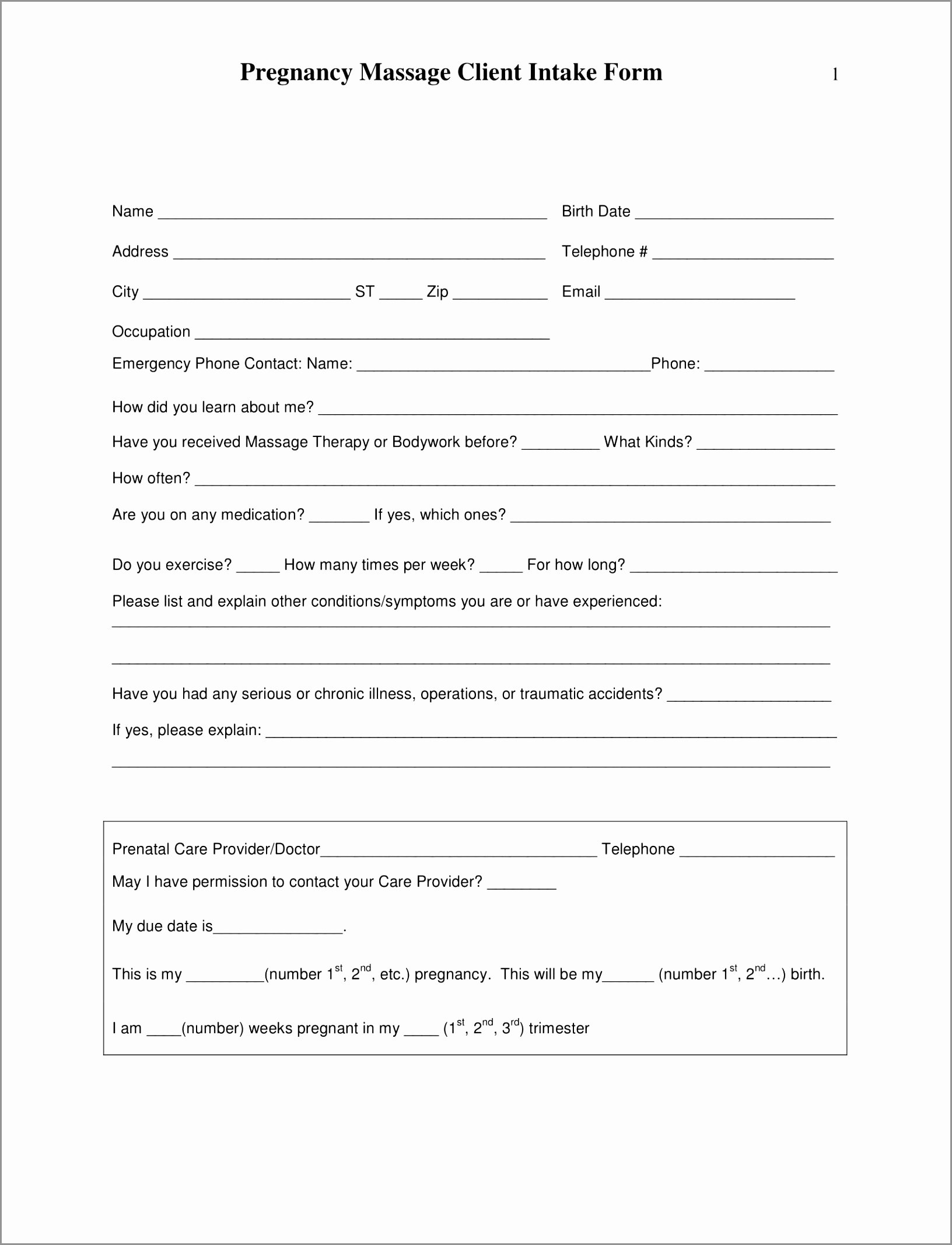 Massage Intake form Templates Luxury 5 Massage therapy Intake form Template
