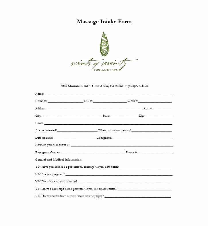 Massage Intake form Templates Luxury 59 Best Massage Intake forms for Any Client Printable