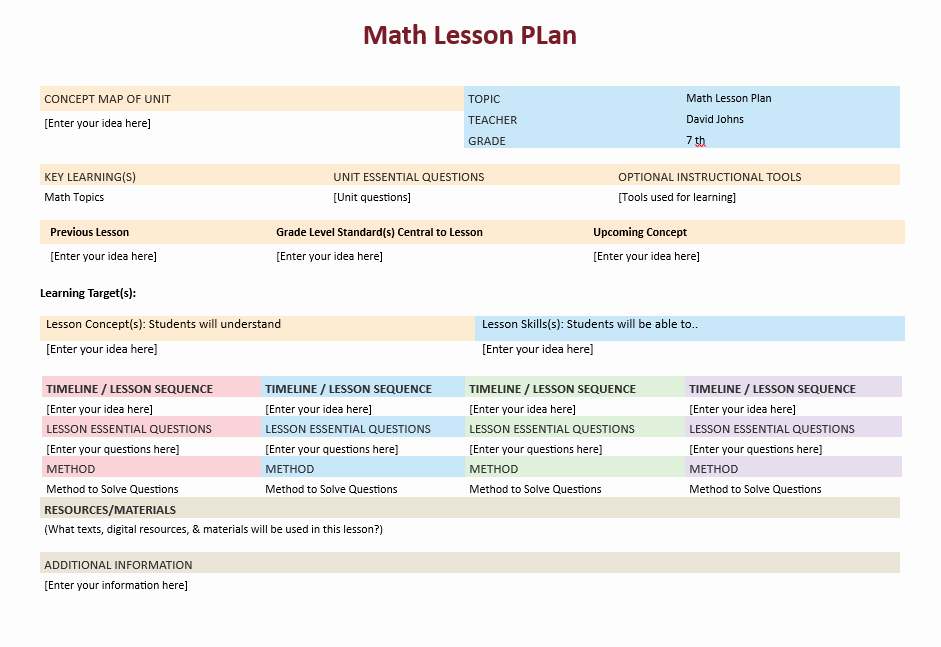 Math Lesson Plan Template Beautiful Math Lesson Plan Template – Microsoft Word Templates