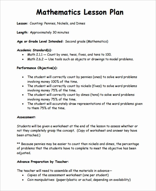 Math Lesson Plan Template Beautiful Sample Math Lesson Plan Template 10 Free Documents