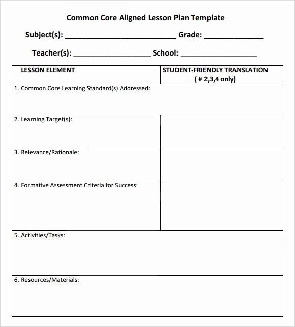 Math Lesson Plan Template Best Of Free 7 Sample Mon Core Lesson Plan Templates In Google
