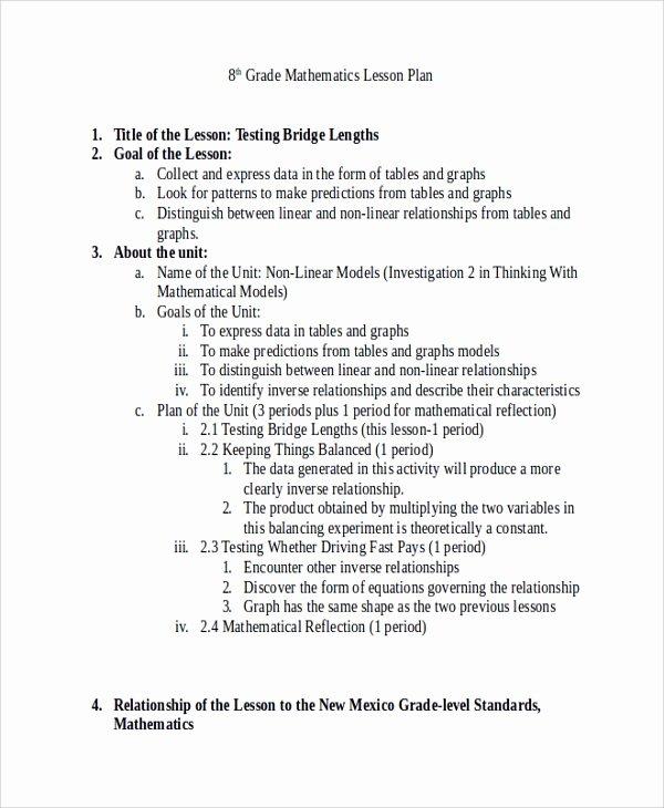 Math Lesson Plan Template Fresh Sample Math Lesson Plan Template 10 Free Documents