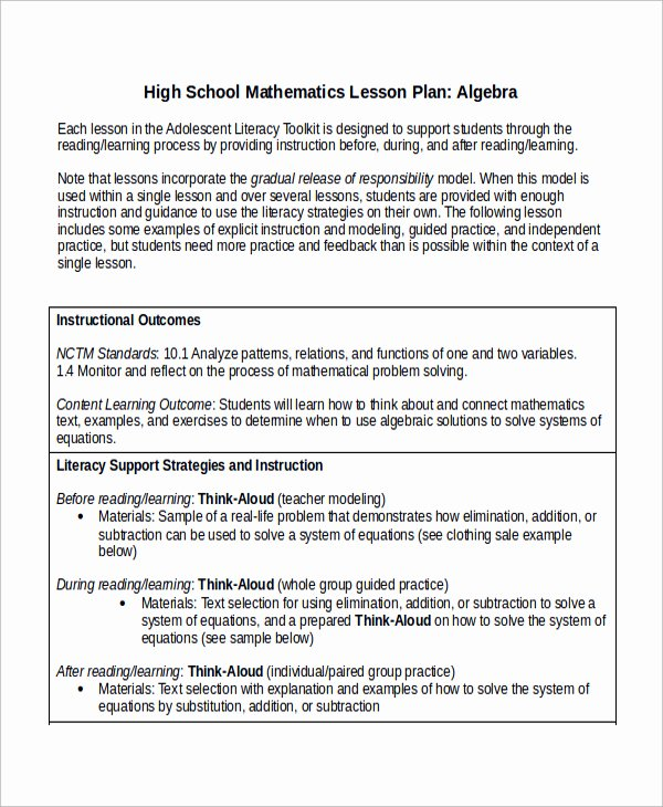 Math Lesson Plan Template New Lesson Plan Template High School Math – Printable Schedule