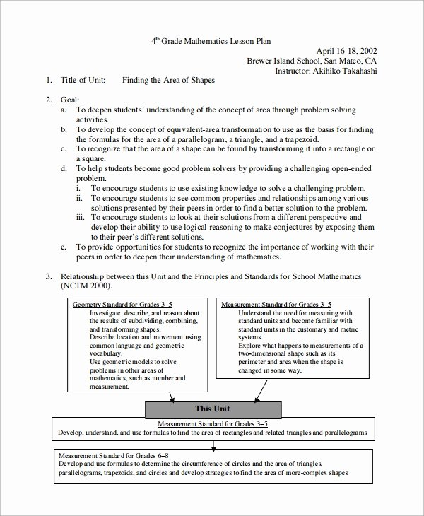 Math Lesson Plan Template New Sample Math Lesson Plan Template 10 Free Documents