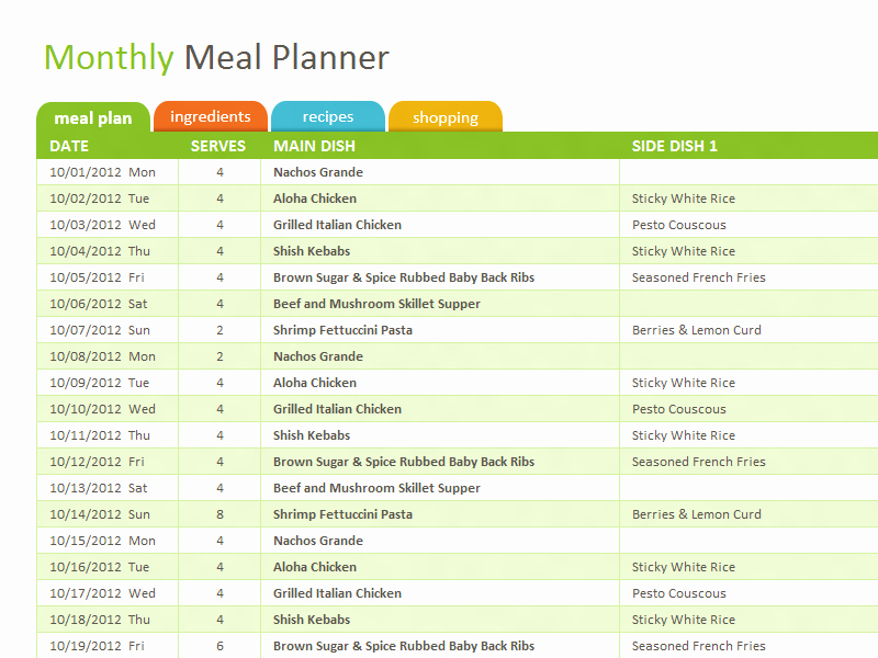 Meal Plan Template Excel Awesome Monthly Family Meal Planner Template for Excel