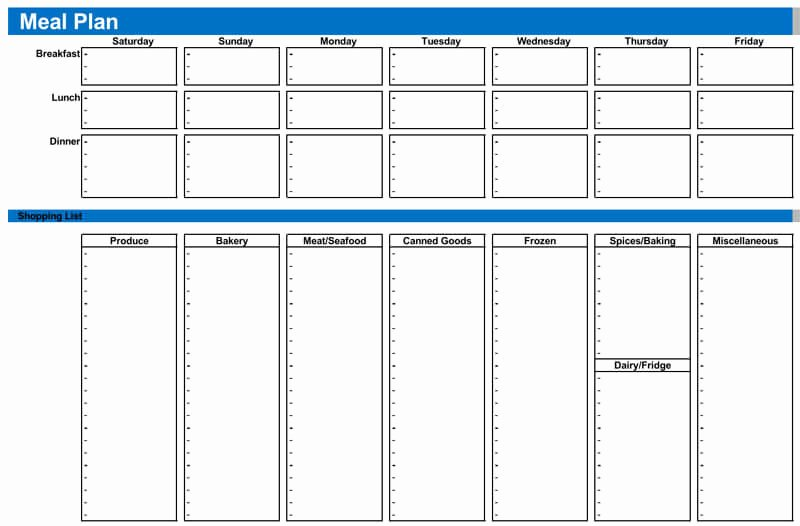 Meal Plan Template Excel Best Of 25 Free Weekly Daily Meal Plan Templates for Excel and Word