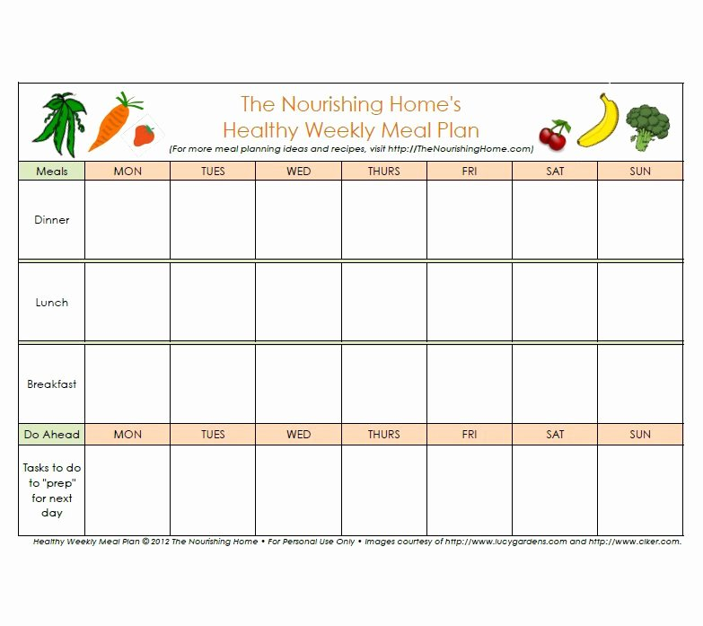 Meal Plan Template Excel Elegant 37 Weekly Planner Template Schedule Meal & Others