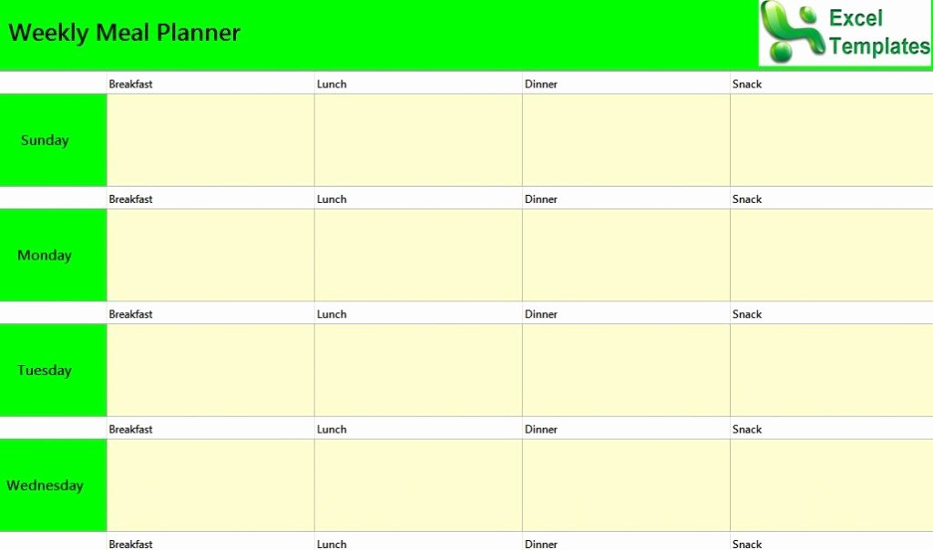 Meal Plan Template Excel Fresh Weekly Meal Planner Excel Template