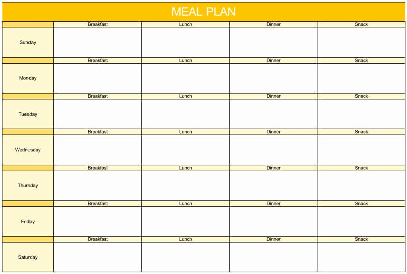 Meal Plan Template Excel Inspirational 25 Free Weekly Daily Meal Plan Templates for Excel and Word