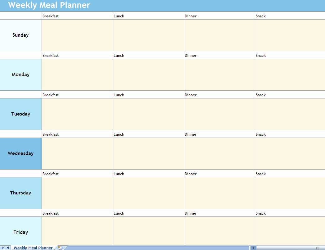 Meal Plan Template Excel Luxury Weekly Meal Planner Excel Spreadsheet