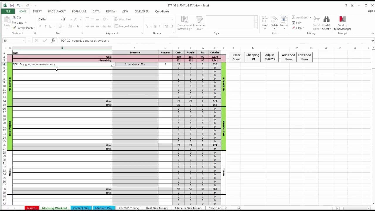 Meal Plan Template Excel Unique Etp Meal Planning Spreadsheet V3 0