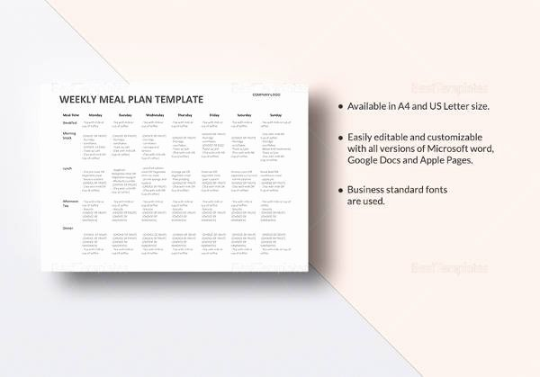 Meal Plan Template Pdf Awesome Free 17 Meal Planning Templates In Pdf Excel