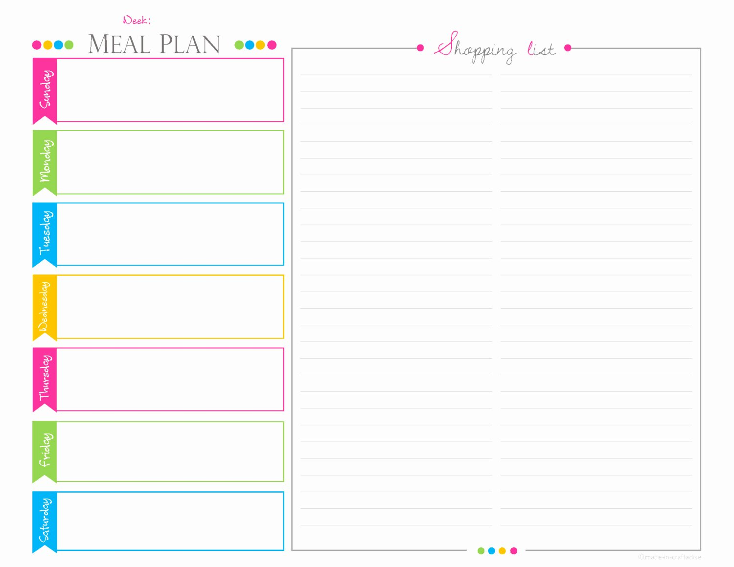 Meal Plan Template Pdf Best Of Weekly Meal Planningshopping List Pdf Planner Landscape