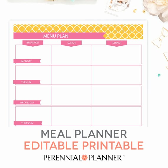Meal Plan Template Pdf Inspirational Menu Plan Weekly Meal Planning Template Printable Editable