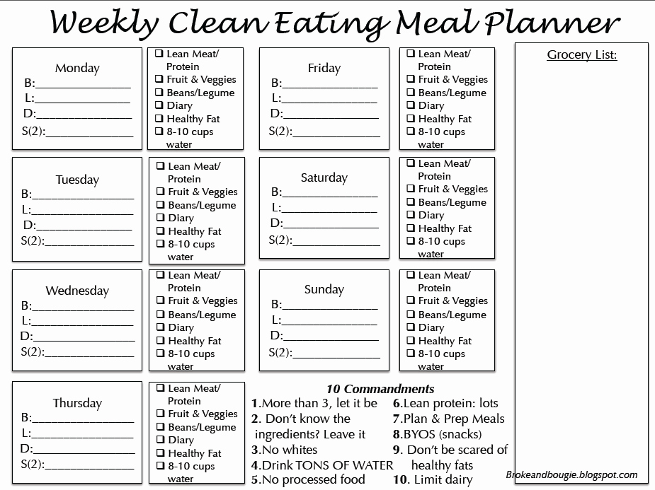 Meal Plan Template Pdf Unique Broke and Bougie Clean Eating Meal Plan Printable Bonus