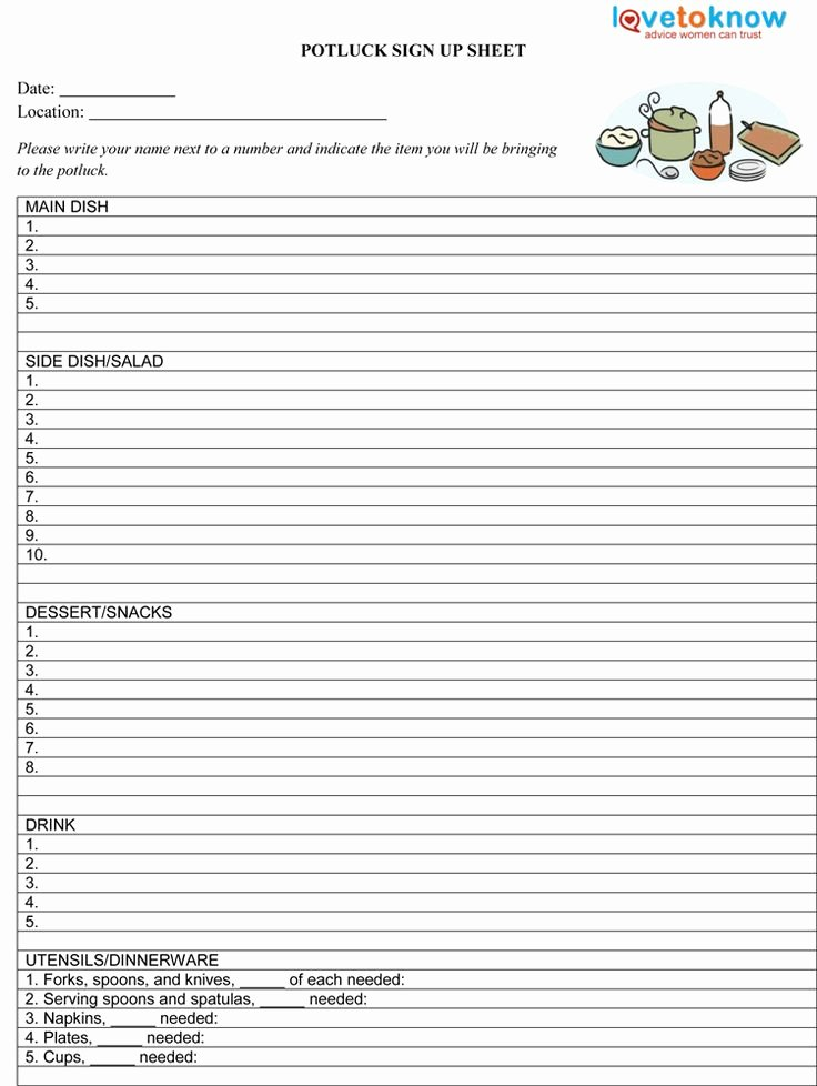 Meal Sign Up Sheet Template Awesome Potluck Sign Up Sheet Template Potluck Sign Up Sheet