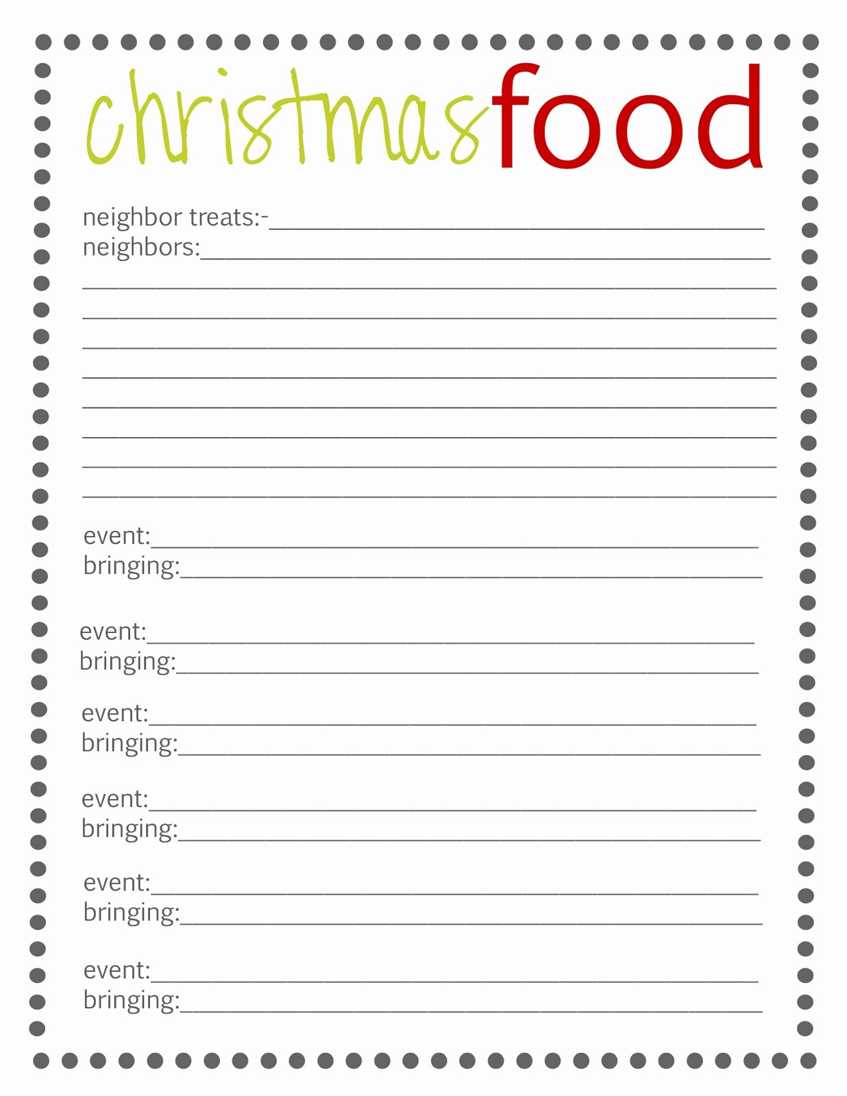 Meal Sign Up Sheet Template New Lovely Little Snippets organize Your Christmas Free