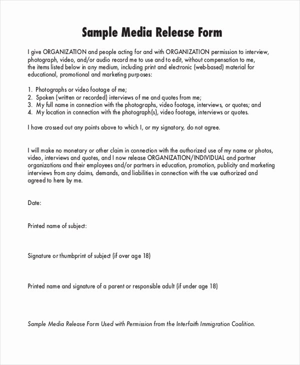 Media Release form Template Awesome Sample Media Release form 10 Free Documents In Pdf