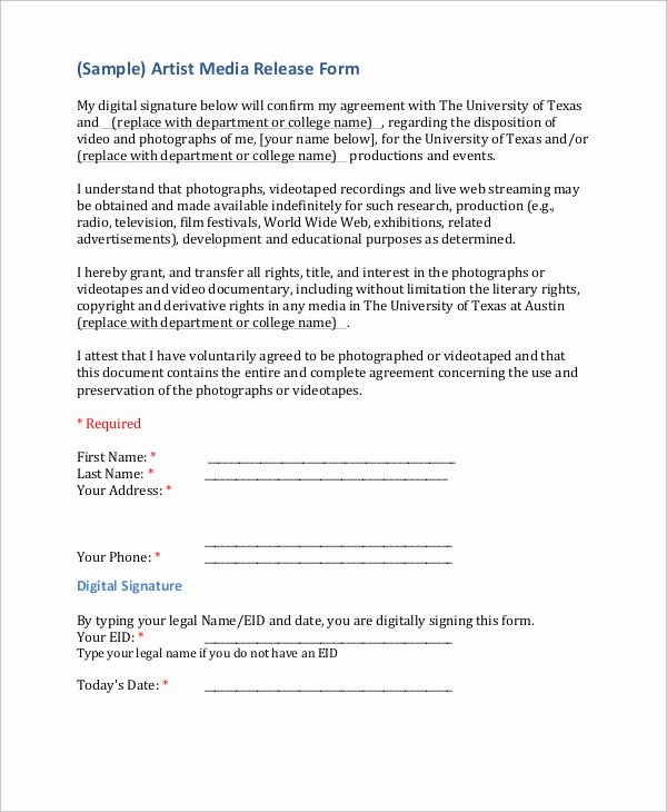 Media Release form Template Beautiful Sample Artist Release form 9 Examples In Word Pdf