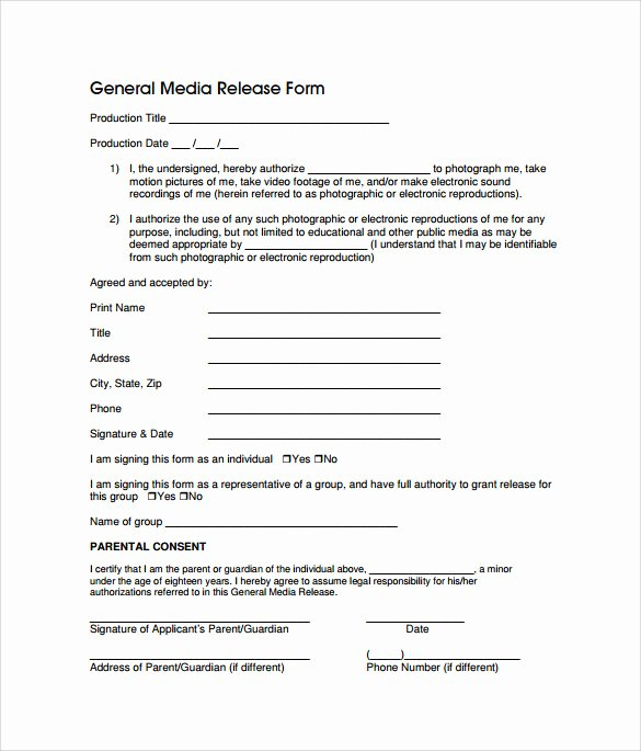 Media Release form Template Best Of Sample General Release form 10 Download Free Documents