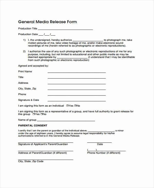 Media Release form Template Inspirational Free 38 Release form Templates