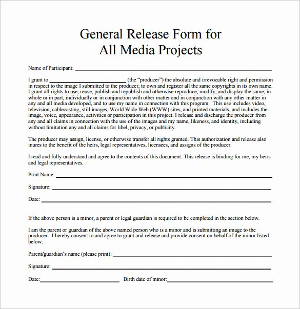 Media Release form Template Lovely Sample General Release form 10 Download Free Documents