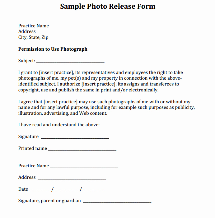 Media Release forms Template Awesome Sample Release form Courtesy Of Dr Eric Garcia and