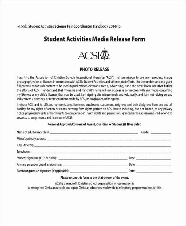 Media Release forms Template Best Of Sample Media Release form 10 Free Documents In Pdf
