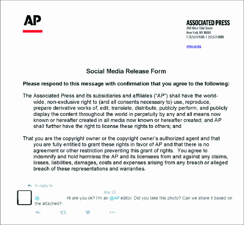 Media Release forms Template Fresh Reply with An attached social Media Release form From An