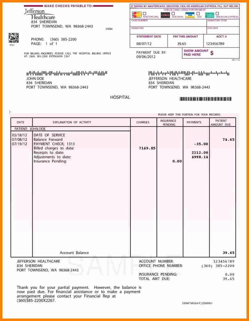 Medical Bill Template Pdf Awesome 5 Medical Billing format Pdf