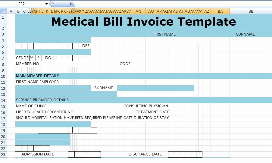 Medical Bill Template Pdf Inspirational Medical Bill Invoice Template Xls