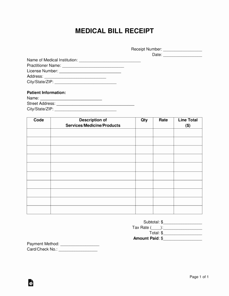 Medical Bill Template Pdf Luxury Free Medical Bill Receipt Template Pdf Word