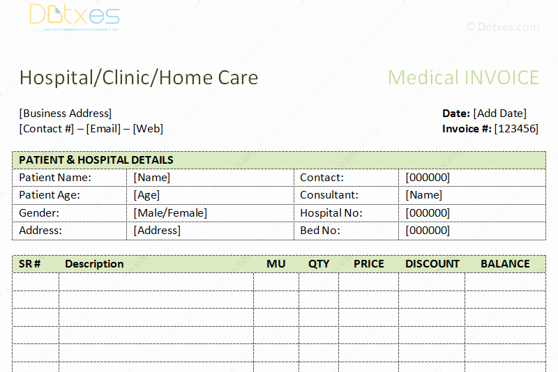 Medical Bill Template Pdf Luxury Medical Bills format Word Dotxes
