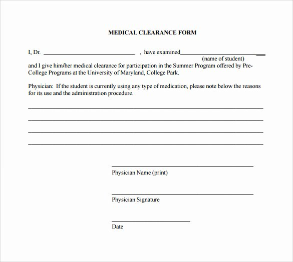 Medical Clearance Letter Template Fresh Medical Clearance form 9 Download Free Documents In Pdf