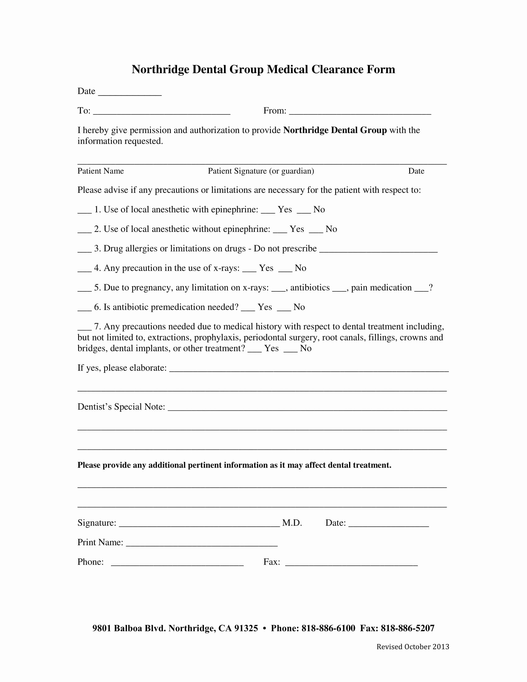 Medical Clearance Letter Template New Free 14 Dental Medical Clearance forms In Pdf