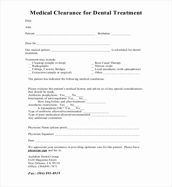 Medical Clearance Letter Template New Free 27 Sample Medical Clearance forms