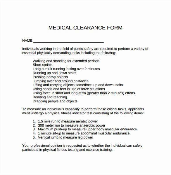 Medical Clearance Letter Template New Sample Medical Clearance form 8 Download Free Documents
