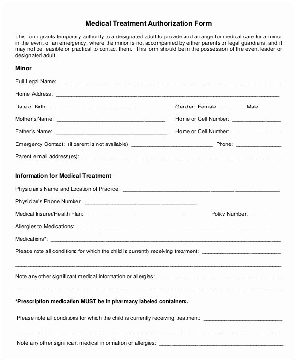 Medical Consent form Template Awesome 10 Printable Medical Authorization forms Pdf Doc