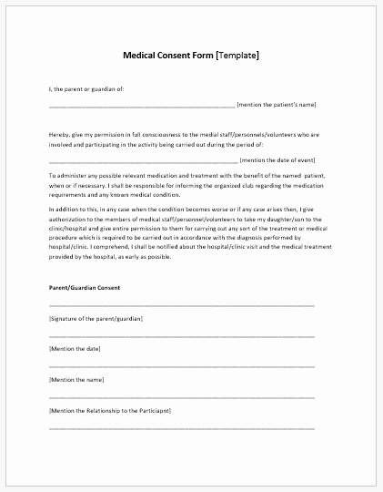 Medical Consent form Template Beautiful Medical Consent form Template Ms Word