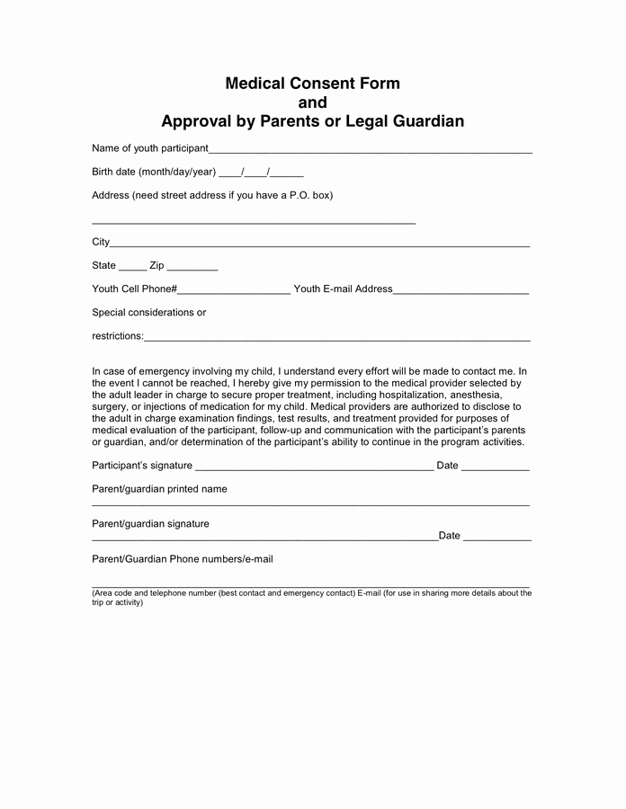 Medical Consent form Template Elegant Doctors Note Consent forms