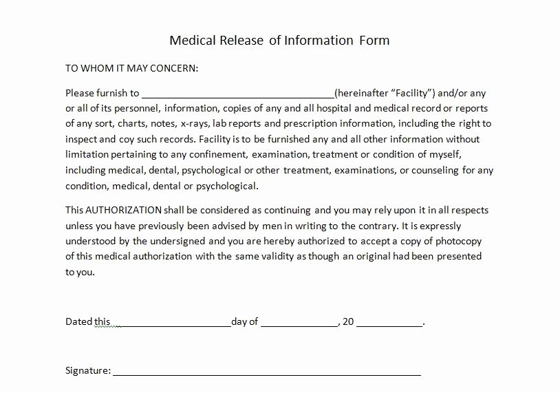 Medical Consent forms Template Beautiful Medical Release Of Information for Personal Trainers