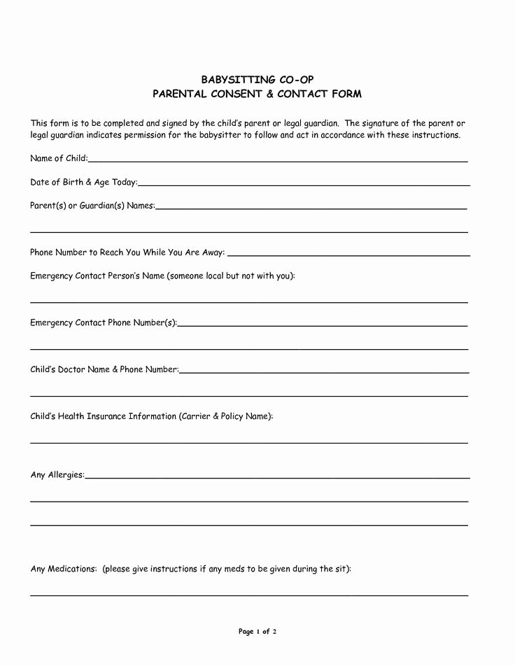 Medical Consent forms Template Best Of Babysitter Medical Consent form Template