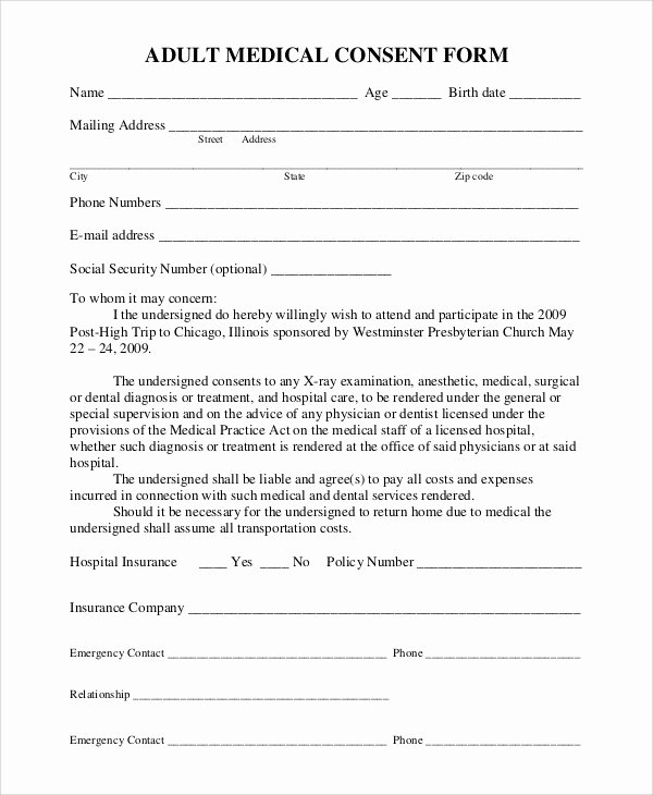 Medical Consent forms Template Elegant Sample Medical Consent form 9 Examples In Pdf Word