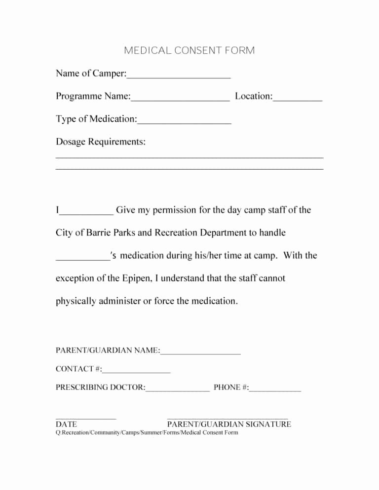 Medical Consent forms Template Lovely 45 Medical Consent forms Free Printable Templates