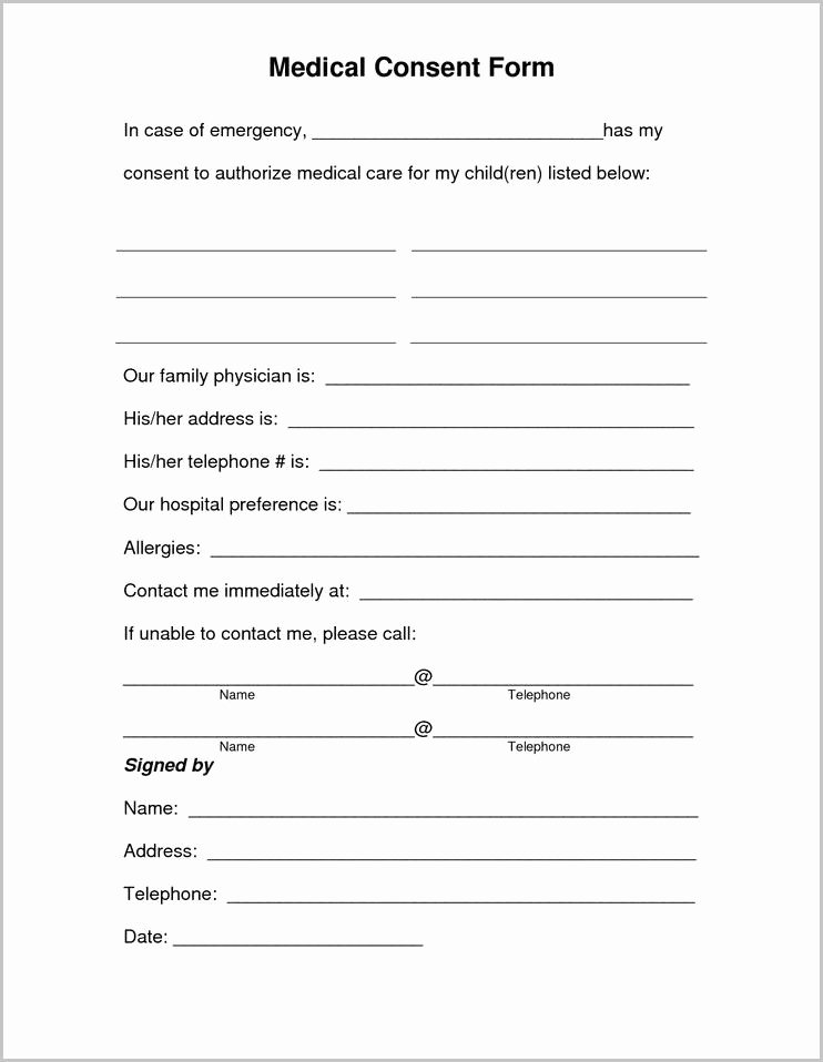 Medical Consent forms Template New Free Printable Child Medical Consent form for Grandparents