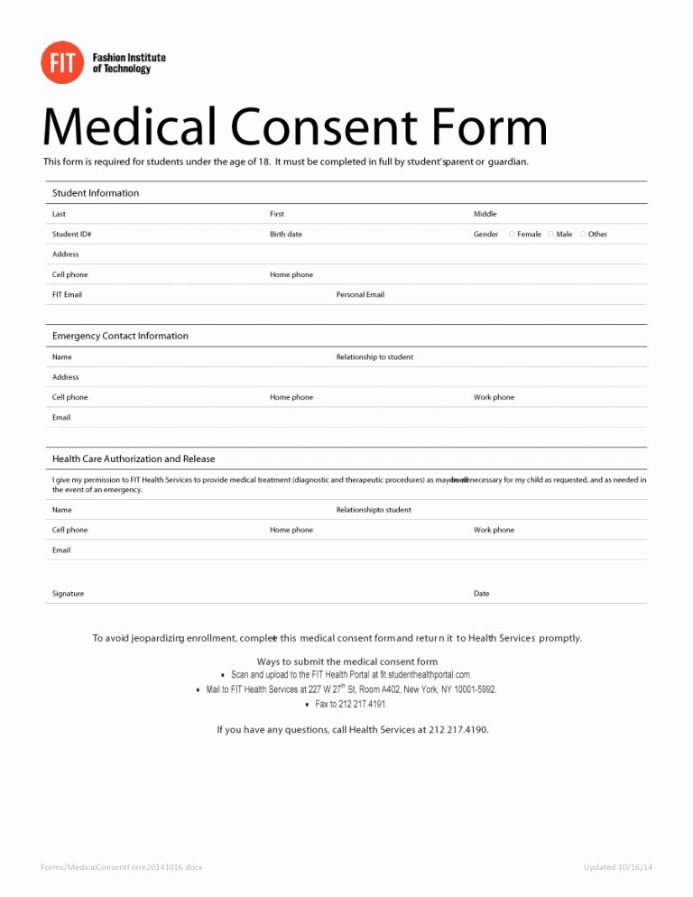 Medical Consent forms Template Unique 45 Medical Consent forms Free Printable Templates