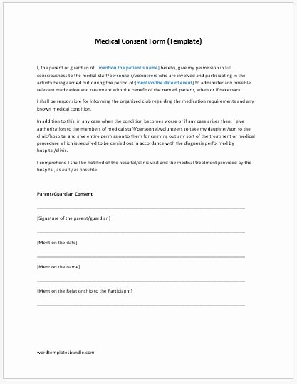 Medical Consent forms Template Unique Medical Consent form Template Ms Word