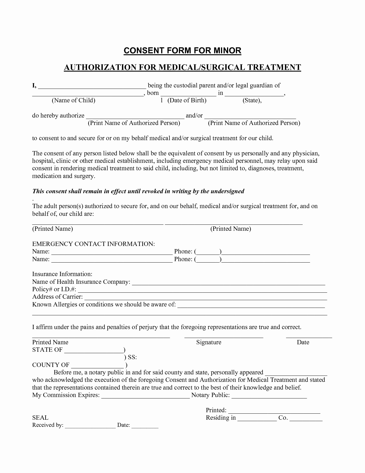 Medical Consent forms Template Unique Medical Consent form Template